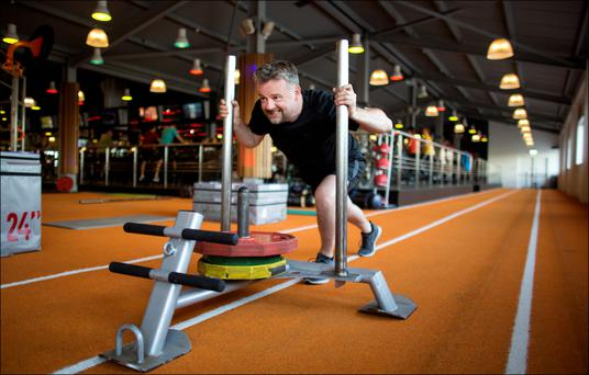 Jody Corcoran working out last week at West Wood gym in Clontarf. Photo: David Conachy