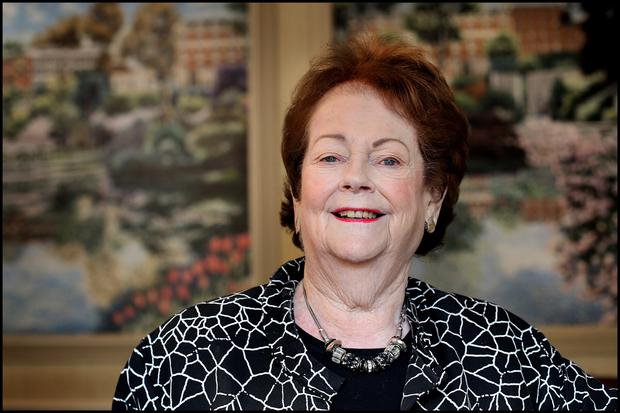 Mary O'Rourke, pictured in The Shelbourne Hotel this week, says she feels her late husband Enda's spirit