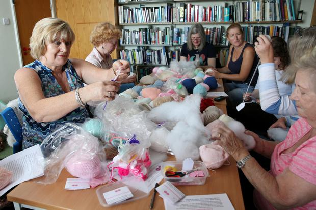 A Knitted Knockers meeting in Donaghmede Library. Photo: Fran Veale