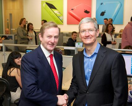 Taoiseach Enda Kenny and Apple's CEO Tim Cook visit Apple's campus in Cork, in 2014