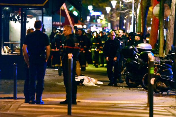 Massacre: French police at the scene of the Bataclan attack on November 13