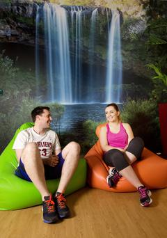 Mindfulness: Darren Coen and Cleo Hubbard take time out in the Think Well room at the Vodafone HQ in Leopardstown. Photo: Tony Gavin