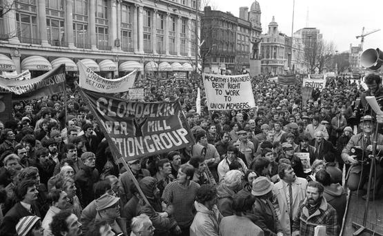 In Larkin's footsteps: A PAYE protest march along O'Connell Street in the early 1980s. Photo: Independent Newspapers Ireland/NLI