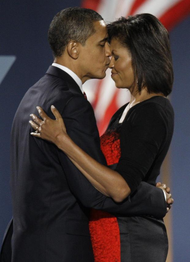 Michelle Obama shares a tender moment with her husband Barack