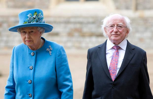President Michael D Higgins With Queen Elizabeth during the first official visit in 2014 by a president of the Irish Republic to the UK.