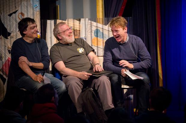 Dan Ariely, Bill Black and David McWilliams enjoy a laugh at a previous Kilkenomics event. Photo: Dylan Vaughan
