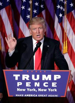 New order: President-elect Donald Trump gives his acceptance speech during his election night rally