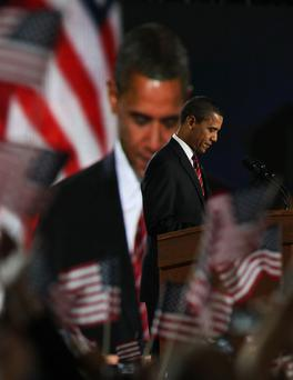High emotion: Barack Obama gives his victory speech to supporters in Grant Park in Chicago on November 4, 2008