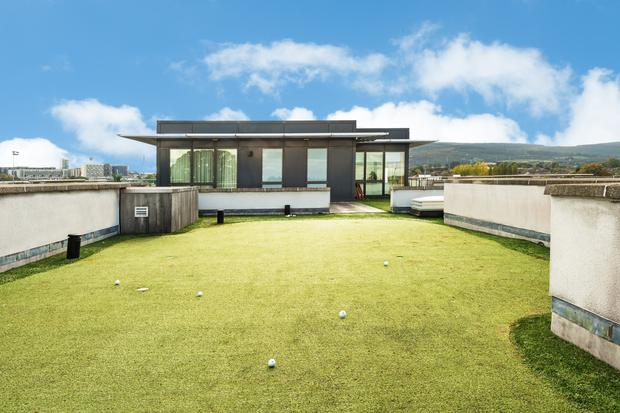 No 42 Hazelbrook is a penthouse apartment with a modern interior that extends to 156sqm and includes its own rooftop putting green with breathtaking views of the nearby Dublin Mountains
