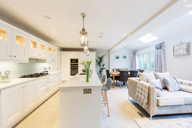 the large open-plan kitchen and living area
