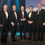 Kevin Nowlan, right, CEO, Hibernia REIT and patron of the DIT Doctorate, presented the Community Benefit Project of the Year Award to, from left, Sean Quirke and Ger Penney of Sisk, Stephen Garvey of Bridgedale and Oaktree Capital's Justin Bickle. Pic: Iain White