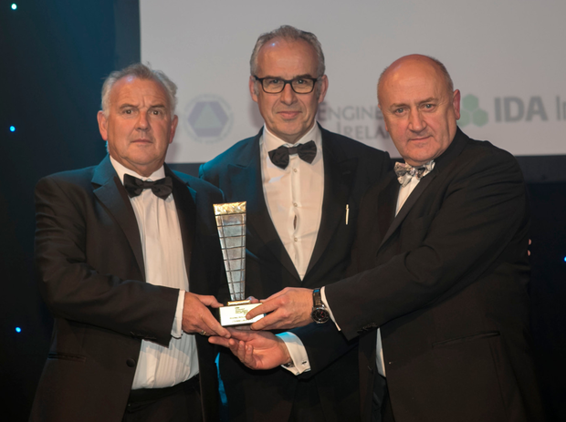 Pat Davitt, right, presents the Regional Excellence Award to Tony Joyce, left and Colm O'Donnellan, O'Donnellan Joyce. Pic: Iain White