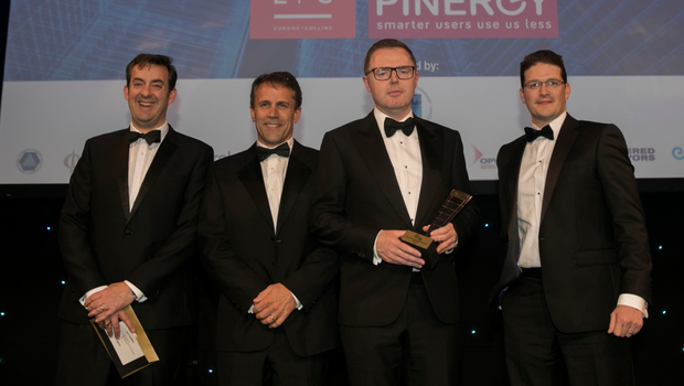 From left, Jim Cleary, tax partner and head of real estate, KPMG, presents the Property Investment Fund/Manager Award to Niall Ringrose, Niall Gaffney and Michael Clarke, IPUT