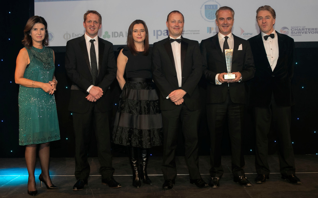 From left, Kathryn Meghen, CEO of the Royal Institute of the Architects of Ireland, who presented the Design Project of the Year Award to Roly Chamberlayne, Tara Clarke, Brian Foley, Chris Jones and Neil Burke Kennedy of Jones Investments Pic: Iain White