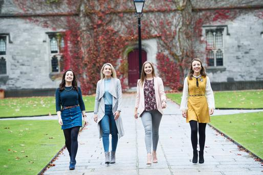 Na Bloggers: Síofra Ní Bhriain, Aisling Ní Chormaic, Roseann Uí Fhlatharta and Gearóidín de Bhailís, of Gaeilge le Glam at NUIG. Photo: Andrew Downes, XPOSURE