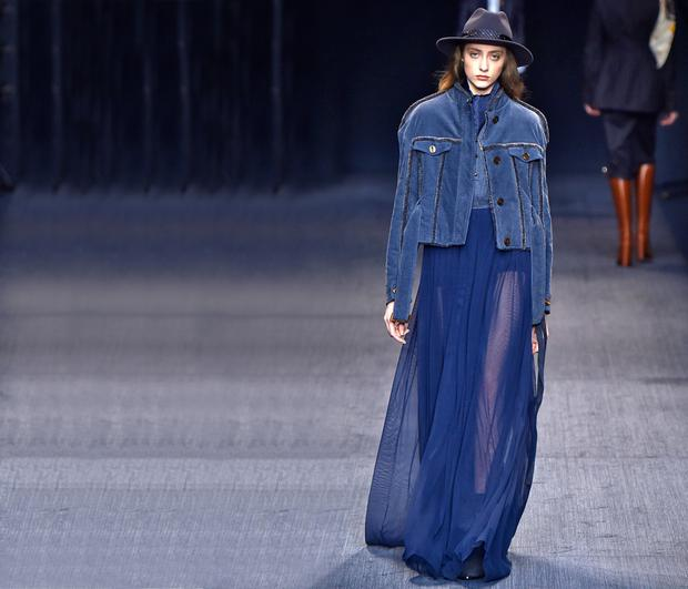 Sheer delight: Trussardi showed head-toe midnight blue tones on the runway at Milan Fashion Week for A/W 2017
