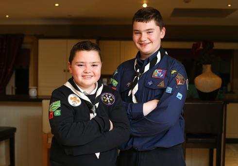 Life lessons: Brothers Oliver (9) and Jack McGuire (13) are both members of the 9th Westmeath Milltownpass Scout Group Photo: Frank McGrath