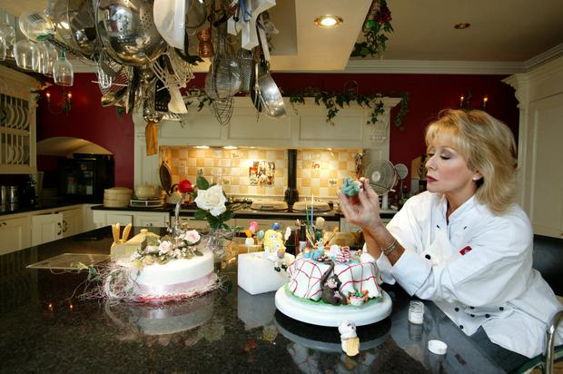 Ireland's answer to Mary Berry, Twink at home in Knocklyon putting the icing on one of her cakes. Photo: Tony Gavin