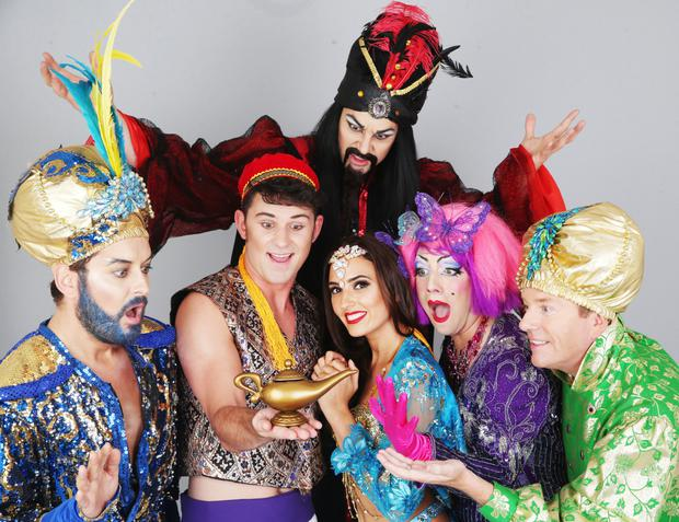 Brian Dowling with the cast of The Cheerios Panto