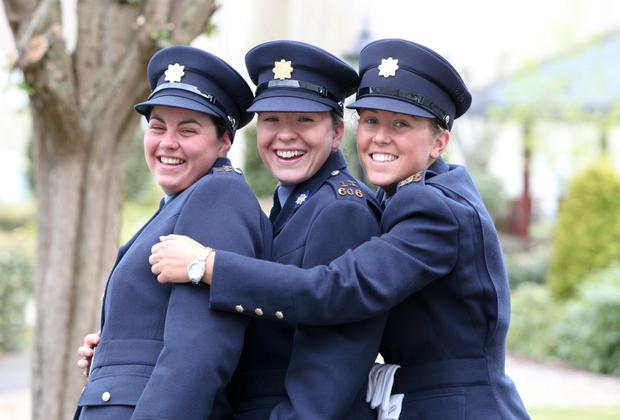 Niamh Briggs (centre) pictured during her graduation ceremony from Garda College, Templemore in 2010.