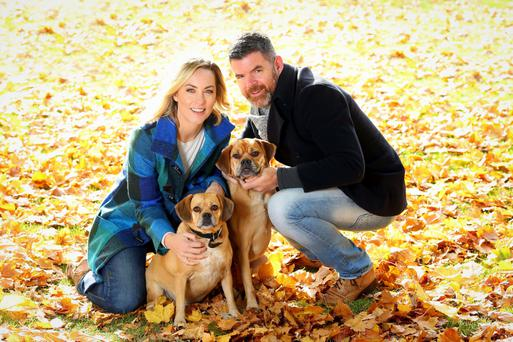 Kathryn Thomas and Padraig Mcloughlin with dogs Poppy and Peter