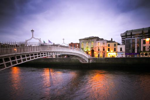 The Ha'penny Bridge, spanning the north and south sides of the city and one of its best loved landmarks
