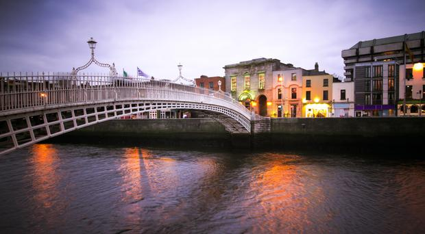 The Hapenny Bridge, spanning the north and south sides of the city and one of its best loved landmarks