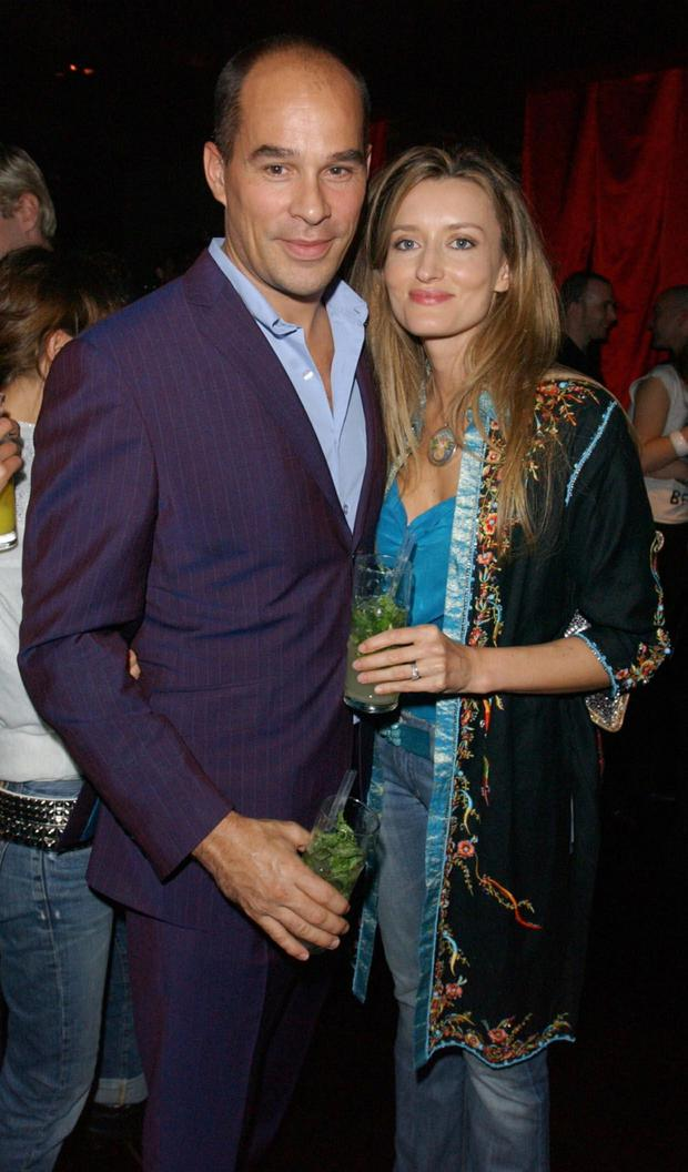 Happy: Natascha McElhone with her late husband, renowned plastic surgeon Martin Kelly