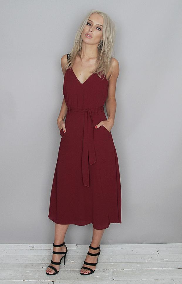 BUY: Cami burgundy midi dress, €49, available at Folkster