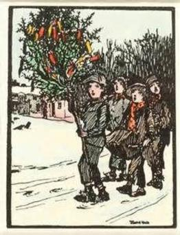 WREN BOYS: Drawing by Jack B Yeats showing four youths singing in the snow