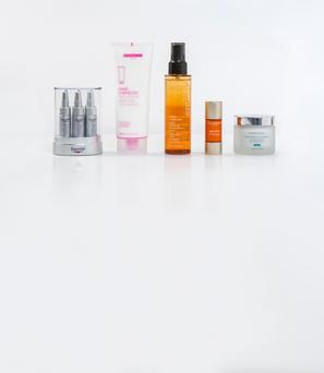 Pictured, from left, Eucerin Hyaluron-Filler Concentrate; Hand Chemistry Pro-Repair Skincare for Hands; Shu Uemura Urban Moisture Hydro-Nourishing Double Serum; Clarins Booster Energy; SkinCeuticals Clarifying Clay Masque