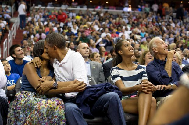 Obama on the 'kiss cam' with wife Michelle at a Team USA basketball game in 2012