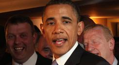 Barack Obama in Ollie Hayes Bar in Moneygall, Co Offaly during his 2011 visit