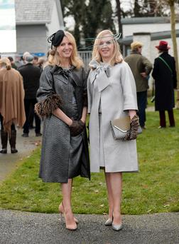 Marie Forkin pictured with her sister Therese, left