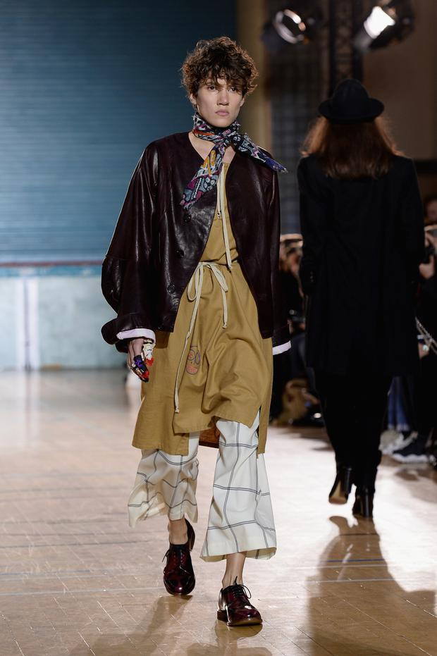 Check it out: A male model at Vivienne Westwood's AW17 fashion show shares the catwalk with a female model