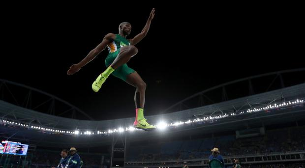 Taking flight: Luvo Manyonga in action during the Men's Long Jump final during the Rio 2016 Olympic Games, in which he won the silver medal. Photo: Matthias Hangst/Getty Images