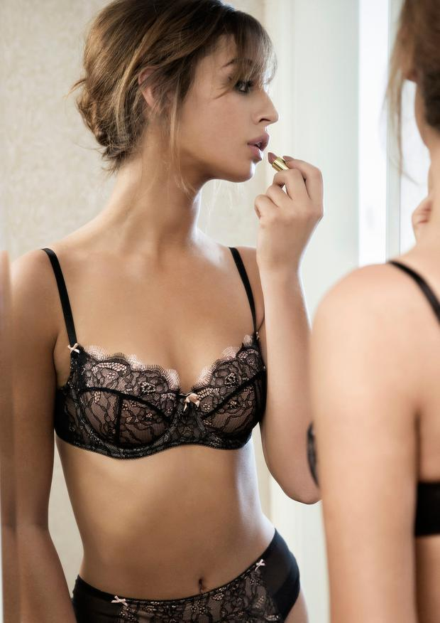 Thalia Heffernan in a b.tempt'd black and pink balconette-style bra, which is constructed in three-part seaming, €43; briefs €20. Picture: Eilish McCormick