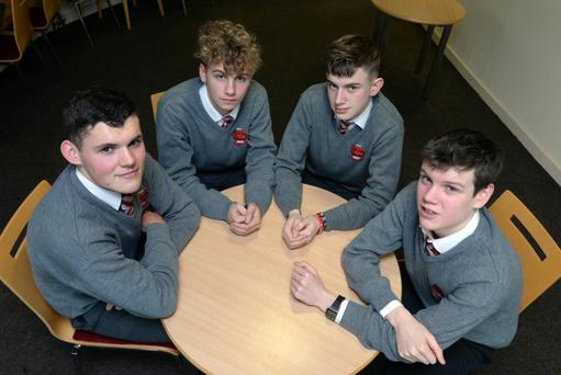 Students from Intermediate School Killorglin contemplate their future, from left, Jack Clifford (16), Liam Curran, (16), Rory Clifford, (17) and Jack O'Grady, (16). Photo: Don MacMonagle