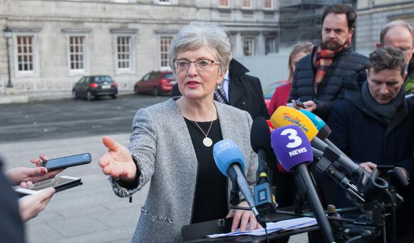 Emotional: Children's minister Katerine Zappone briefs the press outside Leinster House this week. Photo: Gareth Chaney Collins