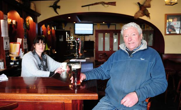 Time at the bar: Trish McDermott and Pat Kavanagh in the Hawthorn Bar, Ballacolla. Photo: James Flynn/APX
