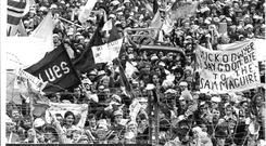 Fans on Hill 16 in 1975 have a warning for Mick O'Dwyer's Kerry