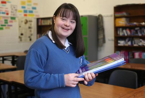 Books and bibles: Jullie O'Brien is studying for her Leaving Cert. Photo: Damien Eagers