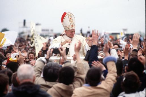 Pope John Paul II during his visit to Ireland in September 1979. Photo: Anwar Hussein