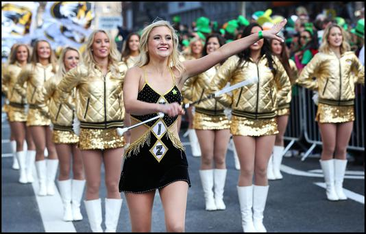 The University of Missouri taking part in the St Patricks Day parade