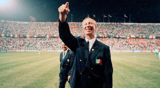 Republic of Ireland manager Jack Charlton celebrates after his side qualified for the quarter finals of Italia 90
