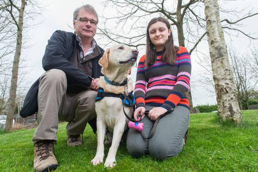 Canine companions: Maedbh Mc Carthy with guide dog Wyn and Instructor Eoin Slattery