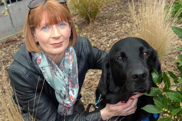 Protection and security: Kim Burke with her son's assistance dog, Wilson