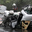 Carnage: The crash scene in which ex-Polish foreign minister Bronislaw Geremek was killed in 2008. Poland began a crackdown on road casualties in 2015