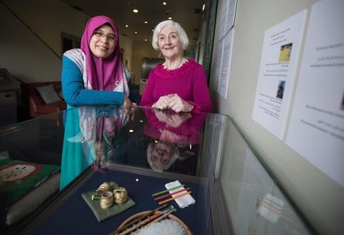 Nor Nasib and Ann Madden at the Culture Connects Exhibition in The Chester Beatty Library. Photo: Fergal Phillips
