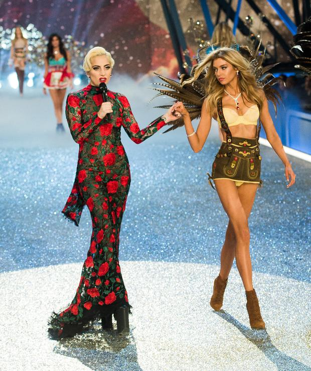 Stella struts her stuff at the Victoria's Secret show with Lady Gaga